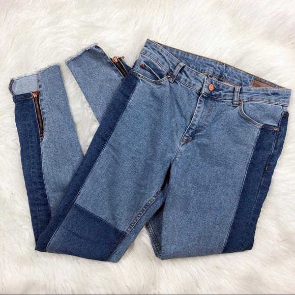 ASOS Denim - ASOS Mixed Denim Skinny Jeans W/ Square Hem